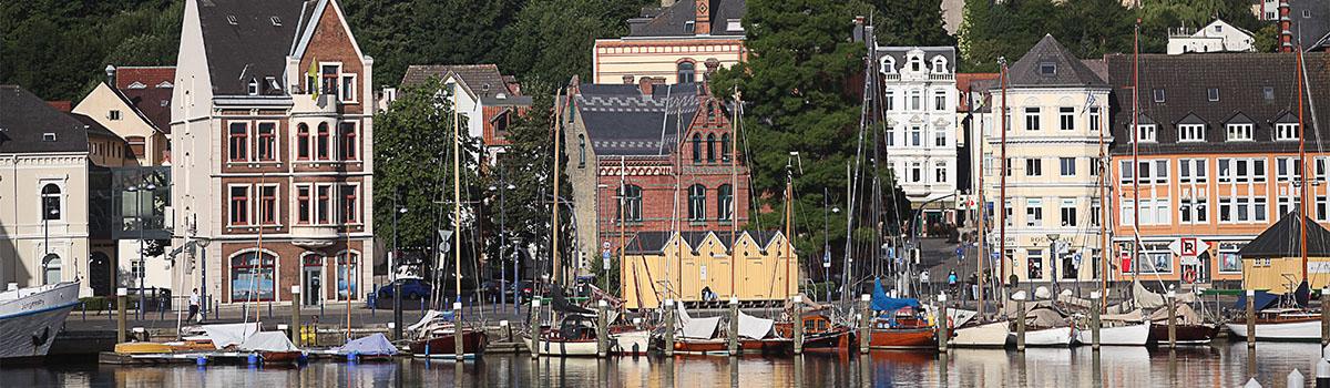 Blick über die Förde auf Flensburg